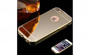 Bumper Aluminiu Cu Capac Tip Oglinda Iphone 7,Gold