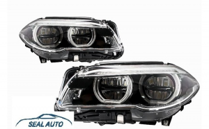 Set 2 faruri Full LED Angel Eyes compatibil cu BMW Seria 5 F10 F11 LCI (2014-2017)