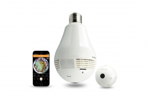 Camera de supraveghere tip bec - Filmare 360 grade, vizualizare de pe telefon, stocare video si audio pe card, microfon + difuzor incorporat