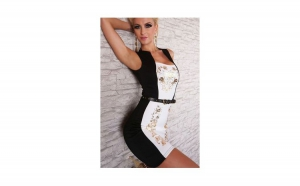 Rochie Sexy Mini Black and White + Ceas Dama Geneva Classic Roman Black gratis, la 159 RON in loc de 299 RON