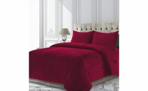 Set cuvertura catifea cu 2 fete de perna, model Rose, King Size, 200 x 220 cm, Rosu inchis