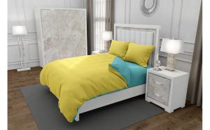 Lenjerie de pat matrimonial cu husa de perna dreptunghiulara, Duo Yellow, bumbac satinat, gramaj tesatura 120 g mp, Galben Turcoaz, 4 piese