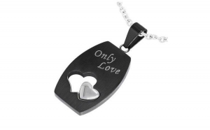 Pandant inox cu inimioare Only Love