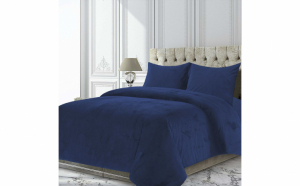 Set cuvertura catifea cu 2 fete de perna, model Ocean, King Size, 200 x 220 cm, Albastru inchis