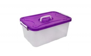 Cutie depozitare plastic semitransparent cu capac si maner 56x34.5x23.5, la doar 69 RON in loc de 90 RON