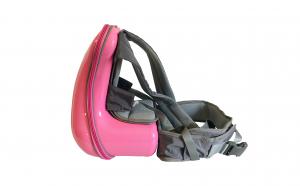 Rucsac din ABS cu scaunel pentru transport copii, salteluta detasabila, buzunar telefon, roz