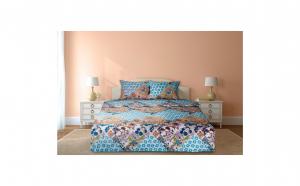 Lenjerie de pat pentru 2 persoane, 100% bumbac, 144TC, model flori albastre