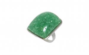 Inel din inox cu sticla Murano verde