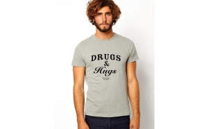 Tricou barbati gri Drugs & Hugs