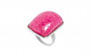 Inel din inox cu sticla Murano roz