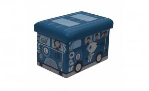 Taburet pliabil cu spatiu depozitare, 38x25x24.5 cm, model Autobuz