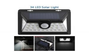 Lampa 34 LED incarcare solara cu senzor de miscare si lumina, On/Off