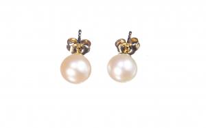 Cercei din aur galben 8K cu perle