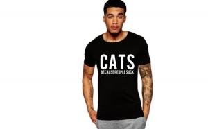 Tricou negru barbati - Cats
