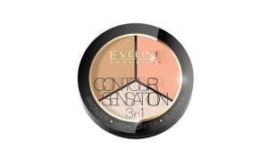 Pudra Contour sensation 3 in 1 , Eveline Cosmetics, Peache Beige