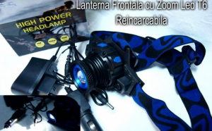 Lanterna frontala cu acumulator, LED si zoom Cree 5W