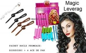 Bucle frumoase cu bigudiurile Magic Leverag + CADOU SET 4 agrafe de par + Bijuterie par