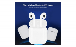 Casti i88 TWS Techstar®  Bluetooth si Wireless Pentru Android si iOS  BT 5.0  Rezistente la apa  Alb