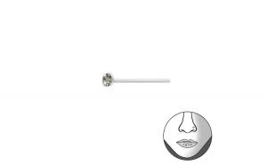 Piercing  nas din Argint, Cristal 2 mm cu cristale Black diamond, A4S34824