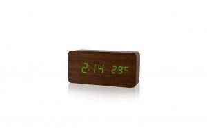 Ceas digital lemn maro cu led verde