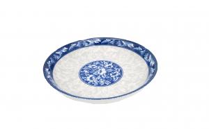 Set 3 farfurii ceramica,18 cm,model floral,albastra