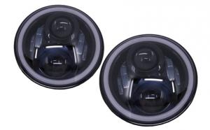 Faruri Full LED CREE Dublu Proiector Jeep Wrangler JK TJ LJ Land compatibil cu ROVER Defender Mercedes W463 Black