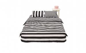 Lenjerie de pat pentru 2 persoane, 100% bumbac, 4 piese, Alb/Negru