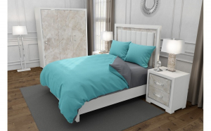 Lenjerie de pat matrimonial cu husa de perna dreptunghiulara, Duo Turquoise, bumbac satinat, gramaj tesatura 120 g mp, Turcoaz Gri, 4 piese