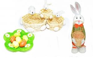 Set decor pentru Paste: Diverse cosulete si farfurie cu oua decorative, la 107 RON