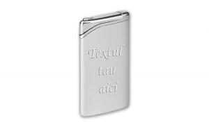 Bricheta personalizata argintie antivant gravata cu textul tau