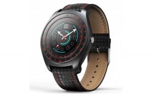 Ceas Smartwatch Techstar® V10 Rosu  Carbon Metal  Cartela SIM  1.22 inch  Alerte  Sedentarism  Hidratare  Bluetooth 4.0