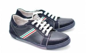 Pantofi barbati sport - casual din piele naturala bleumarin ( Cod: 1160B ) - Made in Romania, la doar 145 RON in loc de 290 Ron
