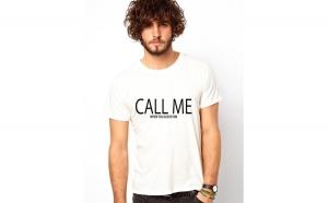 Tricou barbati alb - CALL ME when you