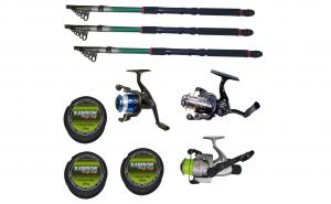 Set 3 mulinete echipate pentru pescuit sportiv cu lansete de 3.6m