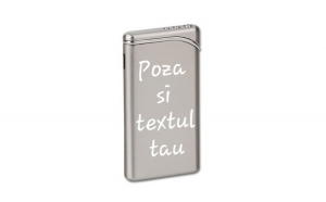 Bricheta personalizata argintie gravata cu poza si textul tau