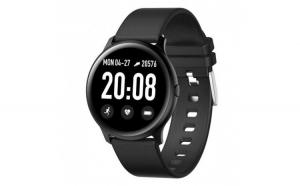 Ceas Smartwatch Techstar® KW19 Negru  1.3 inch HD Rotund  Monitorizare Cardiaca  Tensiune. Oxigenare  Bluetooth 4.0
