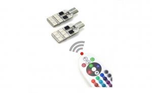 Bec pozitie RGB CU TELECOMANDA - T10, 12 LED SMD 5050 RGB 12V (pret/set)