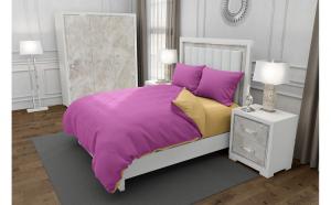 Lenjerie de pat matrimonial cu husa elastic pat si 4 huse perna cu mix dimensiuni, Duo Pink, bumbac satinat, gramaj tesatura 120 g mp, Roz Crem, 6 piese