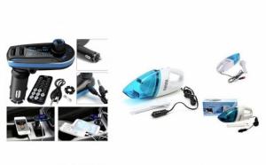 Pachet auto: modulator FM mp3 player cu incarcator pentru diverse dispozitive incorporat + aspirator auto