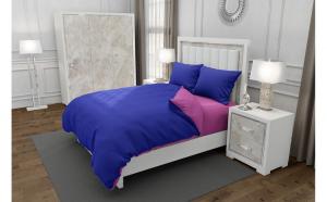Lenjerie de pat matrimonial cu husa de perna patrata, Duo Bluemarin, bumbac satinat, gramaj tesatura 120 g mp, Albastru Roz, 4 piese
