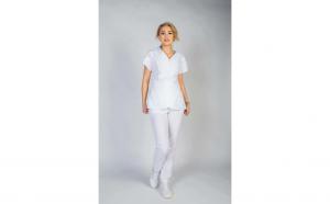 Costum medical dama, bluza, anchior, alb