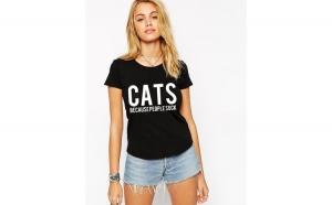 Tricou dama negru - CATS