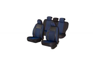 Huse scaune auto AUDI A4 B6  2000-2005  dAL Elegance Albastru,Piele ecologica + Textil