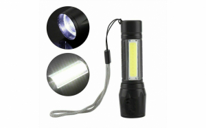 Mini Lanterna LED COB LED cu Zoom si Clips Prindere pe Baterii