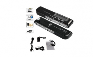 Reportofon Digital Profesional 8GB | 850 ORE de inregistrare | Activare Vocala | MP3 Player