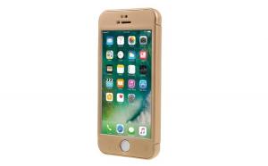 Husa Apple iPhone 5/5S/SE Flippy Full Cover 360 Auriu + Folie de protectie