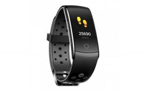 Bratara Fitness Techstar® Q8S Negru  0.96 inch IPS  Alerte  Monitorizare Cardiaca  Tensiune  Oxigenare  Bluetooth 4.0