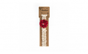 Bentita pentru copii, cu aplicatie florala, Rosie