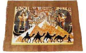 Tablou pictat manual pe hartie de papirus, E097