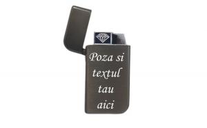 Bricheta personalizata neagra antivant gravata cu poza si textul tau e1